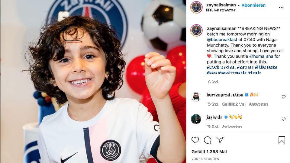Das vierjährige Fußballtalent Zayn Ali Salman