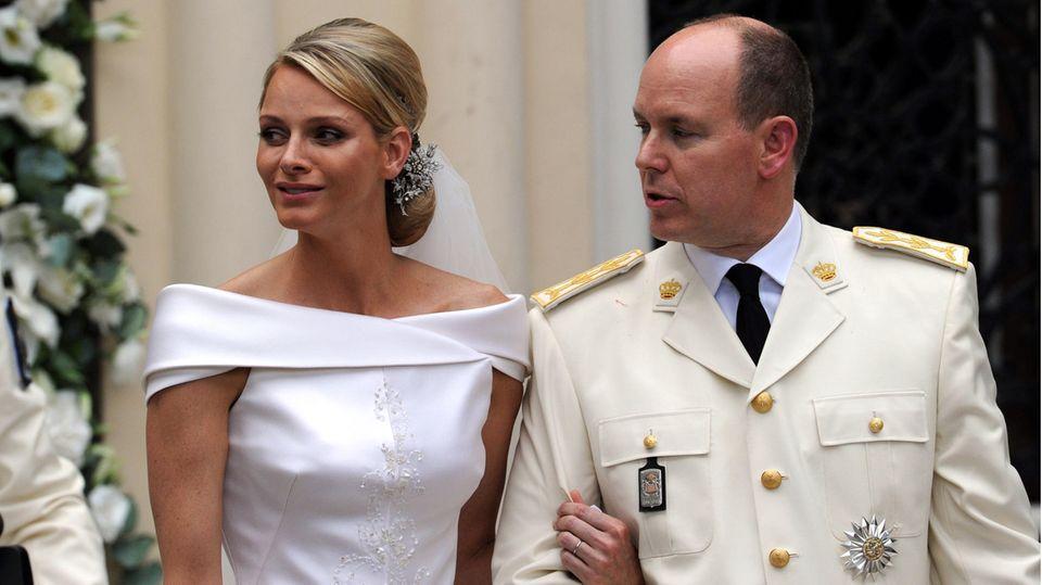 Charlène und Albert bei ihrer Hochzeit im Juli 2011