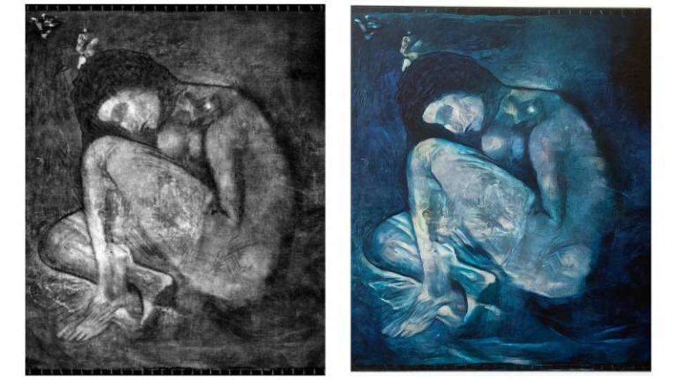 Das übermalte sowie das wiederhergestellte Gemälde von Picasso
