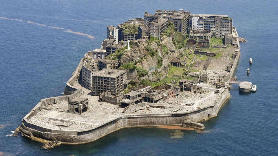 Luftaufnahme von Hashima Island