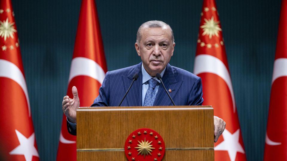 Türkischer Präsident Recep Tayyip Erdogan bei einer Rede in Ankara