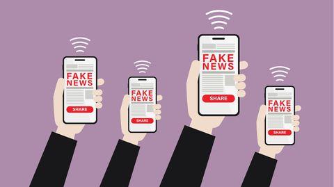 """Hände halten Handys, auf deren Display """"Fake News"""" steht."""