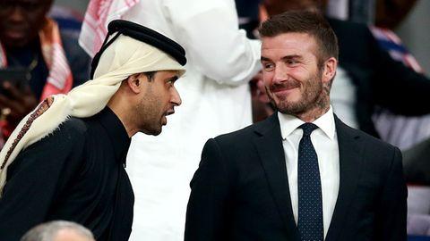 """David Beckham mitNasser al-Khelaifi, Präsident deskatarischen Staatsfonds """"Qatar Sports Investments"""" (Symbolfoto)"""