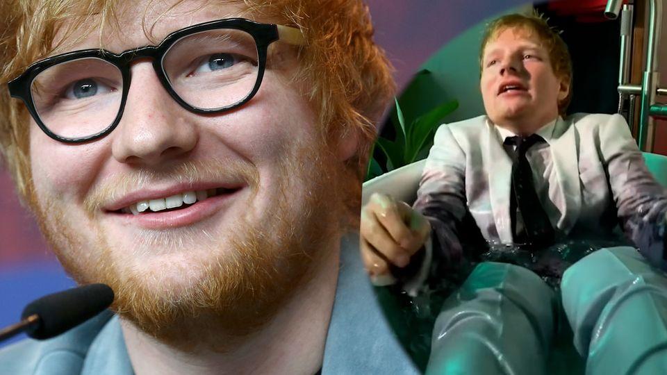 Montage: Der Sänger Ed Sheeran lächelt auf der linken Seite in die Kamera auf der rechten sitzt er in Eiswanne.