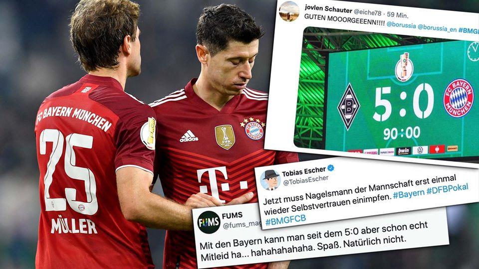 Bayern Münchens Thomas Müller und Münchens Robert Lewandowski reagieren niedergeschlagen nach 5:0-Pleite