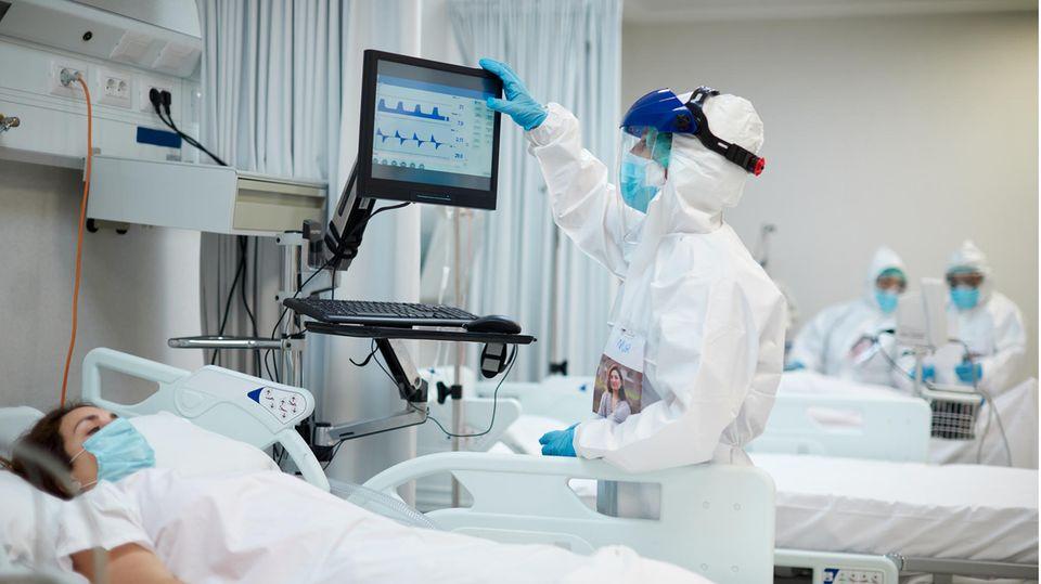 Behandlung einer Corona-Patientin