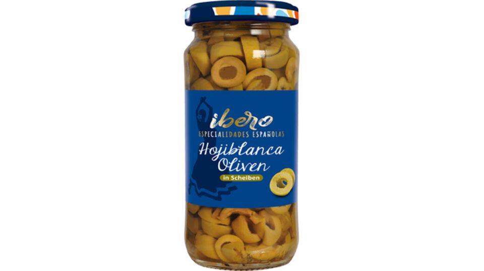 """Produkt """"Grüne Hojiblanca Oliven in Scheiben"""" mit einer Füllmenge von 230 Gramm."""