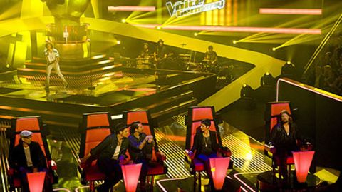 Die Juroren Xavier Naidoo, The BossHoss, Nena und Rea Garvey sitzen mit dem Rücken zu den Künstlern und bewerten nur den Gesang
