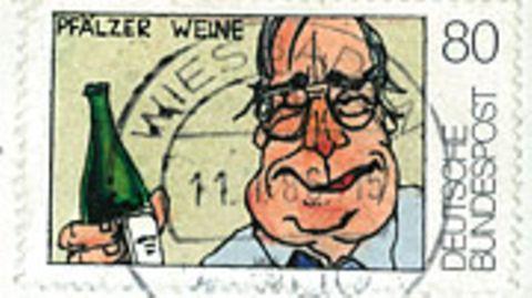 Wiesbadener Grafiker narrt die Post: Die Kohl-Marke, selbst gemalt und abgestempelt
