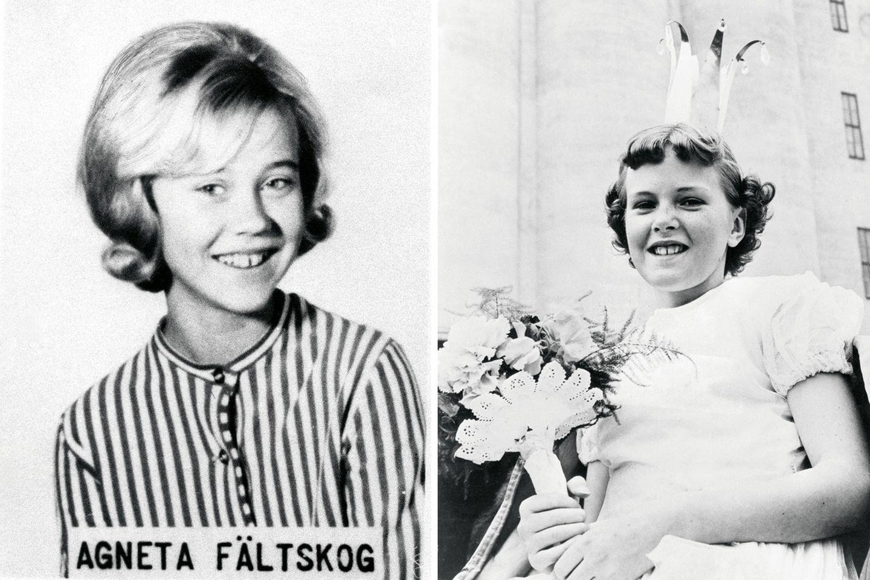"""Das linke Bild zeigt Sängerin Agneta Fältskog im Jahr 1963, damals war sie 13 und ging noch zur Schule.  Rechts: Anni-Frid """"Frida"""" Synne Lyngstad 1956 im Alter von elf Jahren. Als Tochter einer Norwegerin und eines deutschen Besatzungssoldaten hatte sie keine leichte Kindheit. Ihre Mutter starb noch vor ihrem zweiten Geburtstag, ihren Vater lernte sie erst 1977 kennen."""