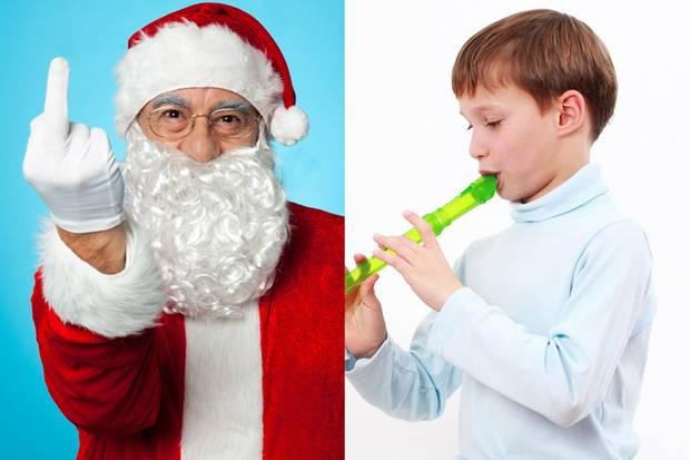 Ein eskalierender Weihnachtsmann, rücksichtslos dasselbe Lied auf Repeat flötende Kinder - Momente an Heiligabend, die wir wohl alle schon mal erlebt haben.