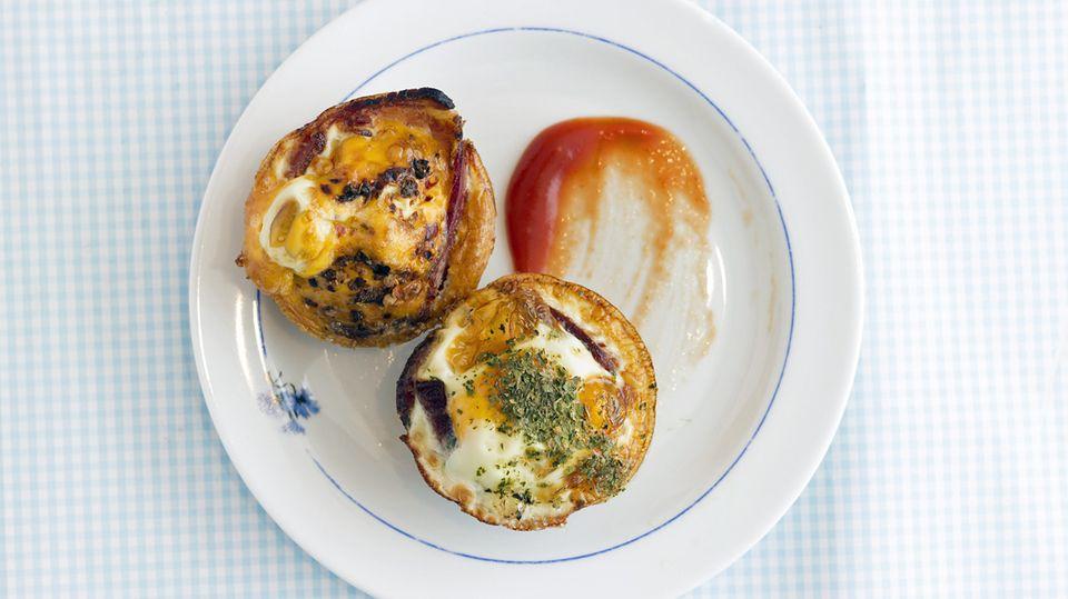 Eier mit Speck in einer Muffinform gebacken - so kann man Paleo-konforme Muffins auch interpretieren.