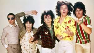 Charlie Watts, Keith Richards, Bill Wyman, Mick Jagger und Ron Wood in den 70er-Jahren.