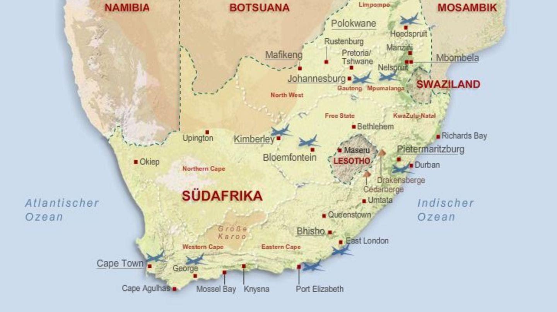 Südafrika-Karte: Das Land am Kap auf einen Blick | STERN.de