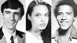 Alice Cooper, Angelina Jolie und Barack Obama auf einer Collage in ihren jungen Jahren.
