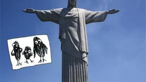 """Die Christus-Statue auf Rios höchstem Berg, dem Corcovado: """"Die Menschen haben Jesus getötet, damit sie eine Starfigur aus ihm machen können"""", stellte meine Tochter nach dem Besuch des Wahrzeichens fest"""