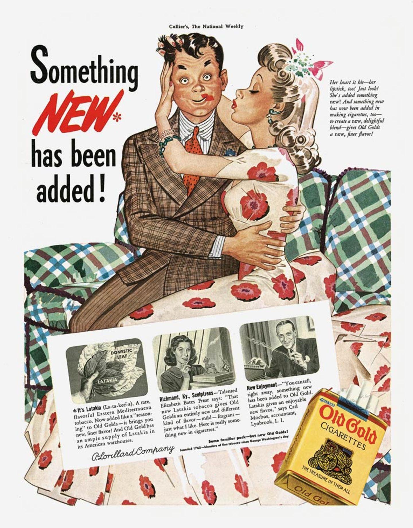 Zigaretten machen sexy. So sah man es in den 40er Jahren und noch lange später. Und so stellt es auch die Werbung für Old Gold Cigarettes aus dem Jahr 1941 dar.