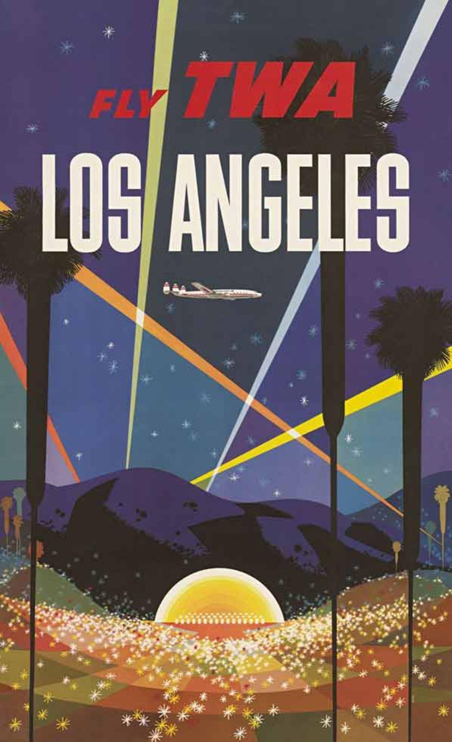 Bild 1 von 11der Fotostrecke zum Klicken:Lichterkegel und Sterneglitzern locken nach Los Angeles, ein Entwurf von 1956. Für Trans World Airlines schuf der Illustrator David Klein bis Ende der 60er Jahre über 50 Plakate.