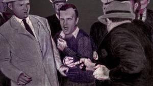 """Der Tag, an dem Lee Harvey Oswald starb: """"Fernsehbild-Gemälde"""" von Judy Jashinsky, zu sehen in einer Kennedy-Ausstellung in Dallas"""