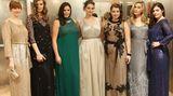 Auch im Kreise von Katy Hansz, Robyn Lawley Jennie Runk, Tara Lynn, Lizzie Miller und Alessandra Garcia macht Huffine (3.v.l.) eine gute Figur, wie hier auf der Mailänder Modemesse im Februar dieses Jahres.