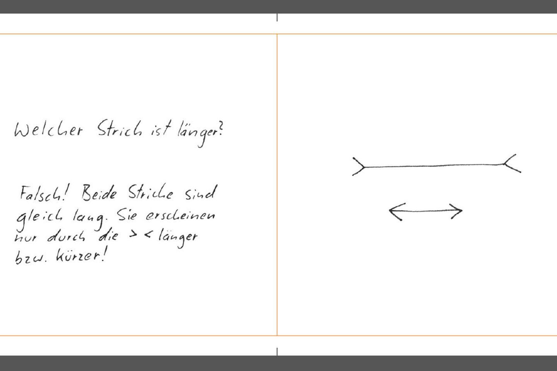 """Eines der schrägsten Bücher der Saison erscheint dieser Tage im Fischer Taschenbuch Verlag: """"Optische Enttäuschungen"""" hält, was der Titel verspricht: Der ganze Band ist eine einzige Absage an Sinn und Verstand. Es wimmelt nur so von absurden Zeichnungen, Handlungsanweisungen und Erklärungen.   Aber gerade darin besteht der Reiz: Der Stil bekannter Rätsel- und Illusionsbücher wird hier ad absurdum geführt - für den Leser ein herrliches Vergnügen!  Ausgedacht haben sich den Quatsch der Spiel- und Lerndesigner Willy Dumaz, Gründer des """"Büros für Sinn und Unsinn"""" und Ingo Hofmeister, ebenfalls studierter Spiel- und Lerndesigner, der heute als Kunstpädagoge und Gestalter arbeitet."""