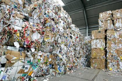 Umweltfreundliches Recyceln: Bis unter die Decke stapelt sich das Altpapier. Doch Giftstoffe aus recycelter Pappe können in Lebensmittel übergehen.