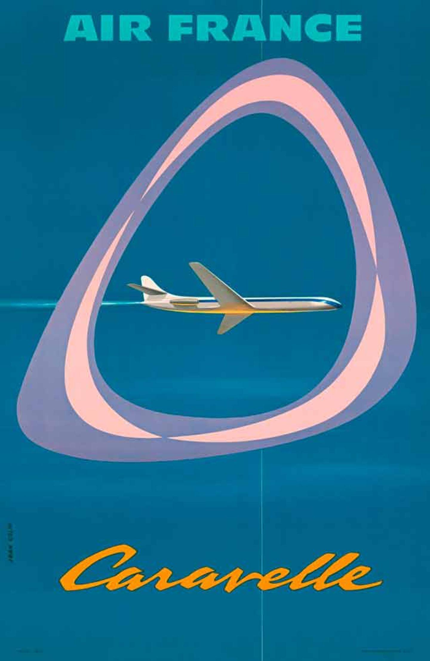 Mit Einsetzen des Jet-Zeitalters änderte Air France auch das Plakat-Design: Jean Colin lässt den Betrachter durch ein symbolisches Flugzeugfenster auf die Caravelle blicken. Der zweistrahlige französische Jet war ab 1959 für Air France im Einsatz.