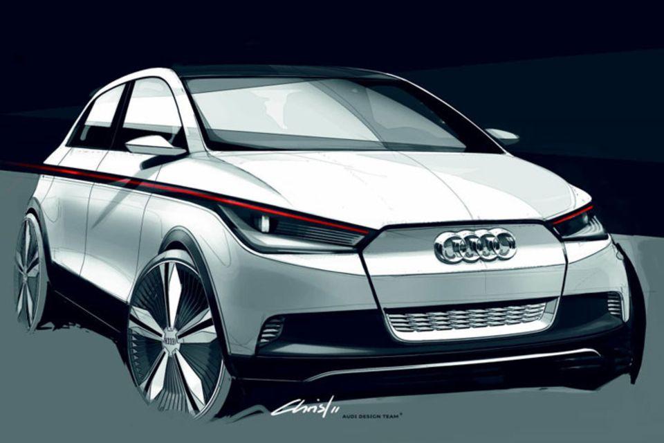 """Eine wahrlich leuchtende Technikstudie hat Audi für die diesjährige IAA kreiert. Der 3,80 Meter lange A2 Concept verfügt über ein blendfreies hoch aufgelöstes LED-Fernlicht, das die Ingolstädter """"Matrix Beam"""" nennen"""