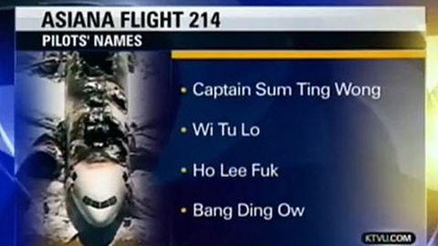 """""""Wi Tu Lo"""" und """"Ho Lee Fuk"""" - waren das wirklich die Piloten des Asiana-Unglücksfluges? Der kalifornische Lokalsender KTVU fiel auf einen üblen Scherz herein."""