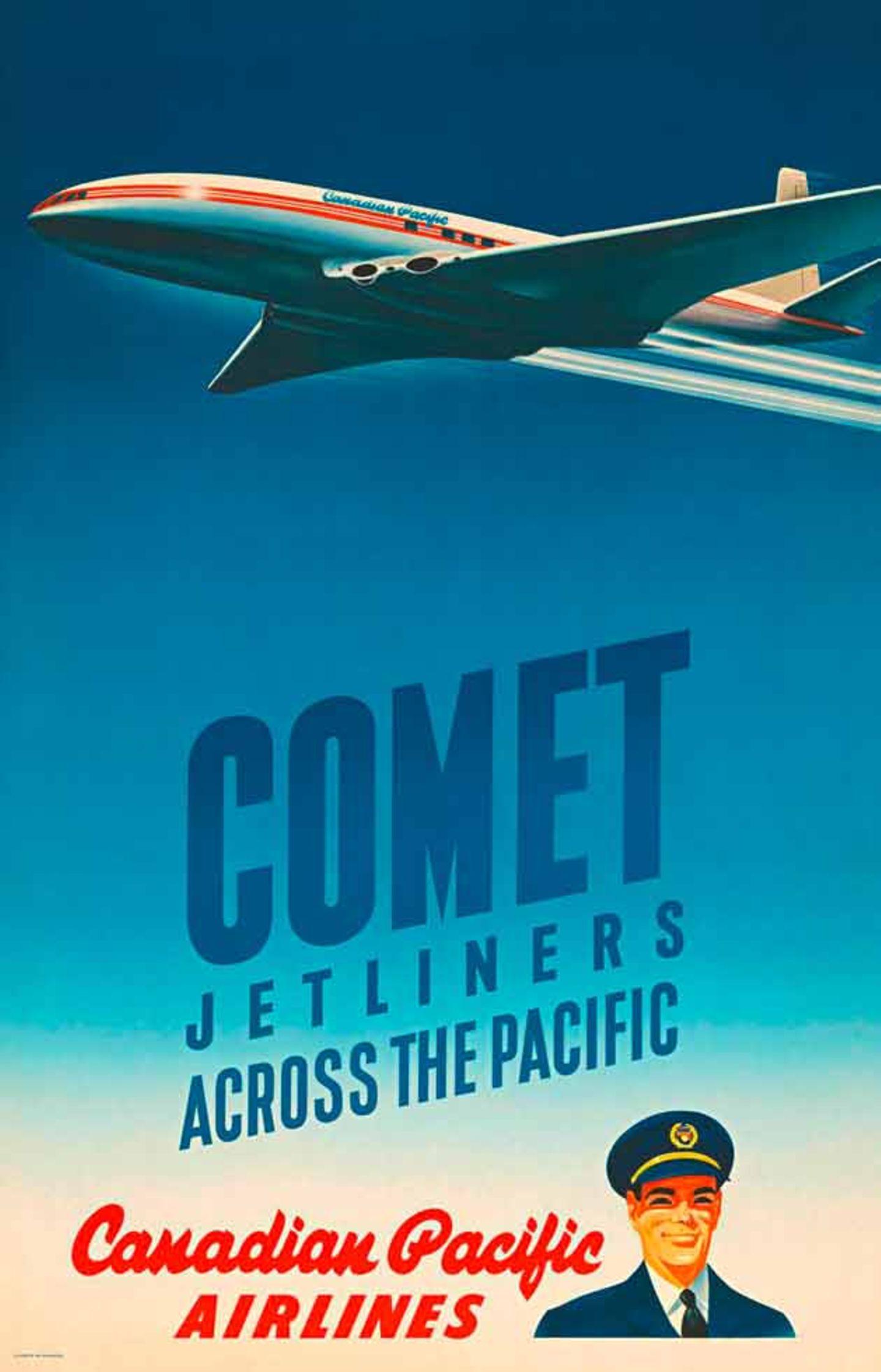 Eine Comet, das erste in Serie gebaute Düsenverkehrsflugzeug der Welt der britischen de Havilland Aircraft Company, zieht Kondensstreifen am Himmel. Peter Ewart entwarf das Plakat 1952 für Canadian Pacific. Das Unternehmen ging 1987 in die Fluggesellschaft Canadian Airlines International auf, die wiederum 2001 in Air Canada integriert wurde.