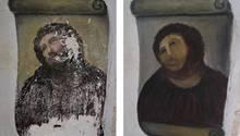 """Links das vom Verfall bedrohte Original des """"Ecce Homo"""", rechts das überpinselte Fresko von Cecilia Giménez"""