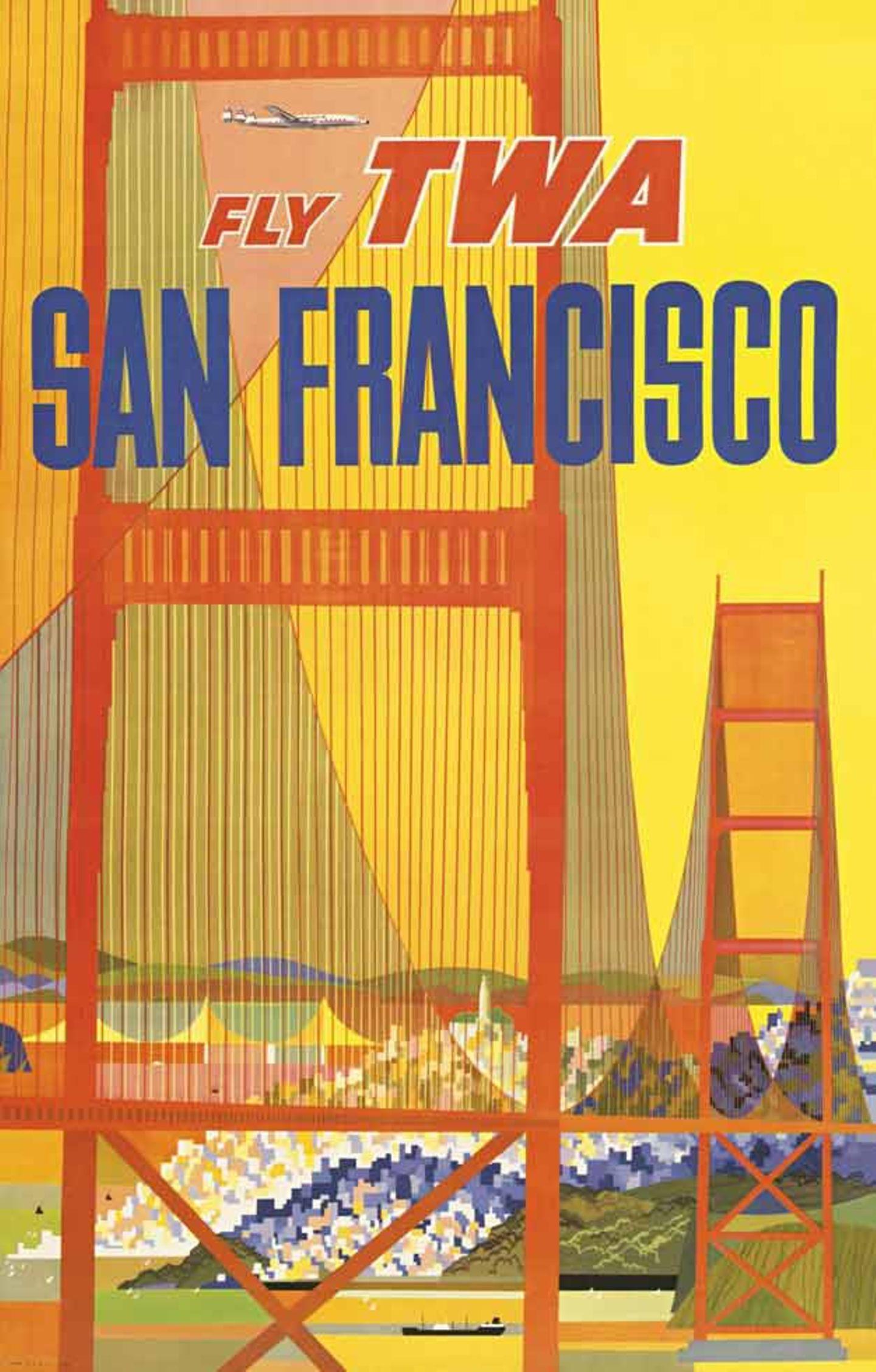 Eine weiteres Poster von David Klein: Bei dem Motiv aus dem Jahre 1957 durchkreuzt noch eine Lockheed Constellation den Plakathimmel.