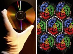 Links die konventionelle DVD, rechts die Protein-coated disc, kurz PCD - sie soll bis zu 50 Terabyte speichern können