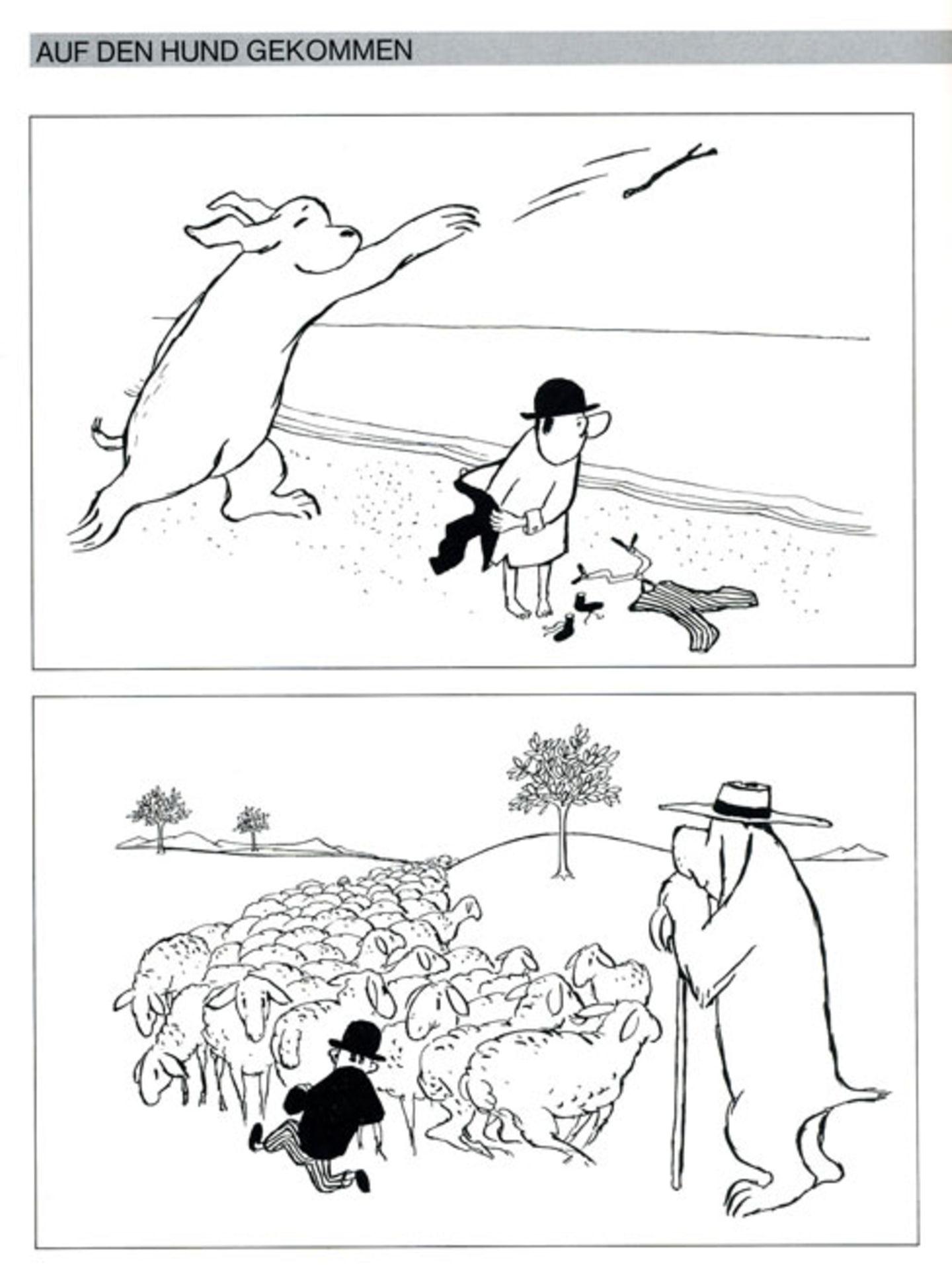 """Ärger bereitete ihm die Serie """"Auf den Hund gekommen"""", in der er die Rollen von Herr und Hund einfach vertauschte. Besonders geistliche Herren beschwerten sich bei Chefredakteur Henri Nannen aufs Heftigste, weil sie hier die Krone der Schöpfung verunglimpft sahen"""
