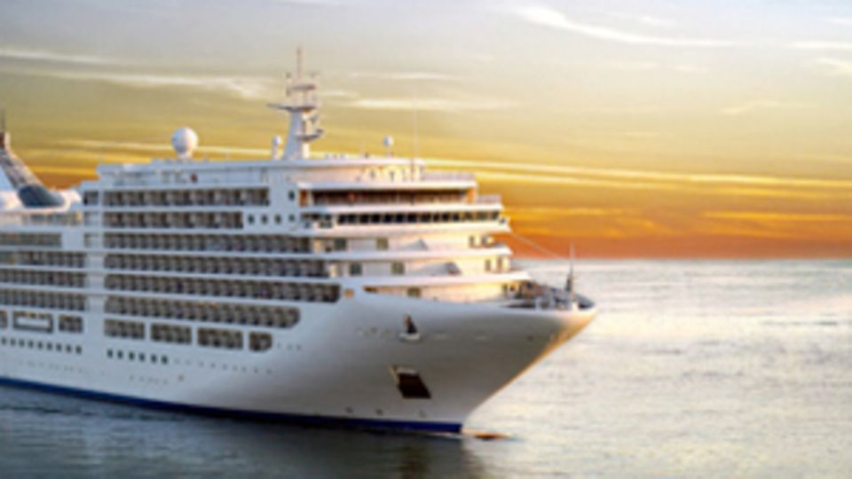 Ein Kreuzfahrtsschiff auf dem offenen Meer vor dem Sonnenuntergang.