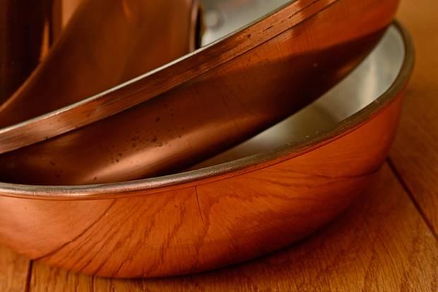 Kupfer - diese Pfannen werden binnen Sekunden heiß.