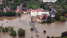 Die Obermühle in Wünschendorf bei Gera ist 2013 überflutet.