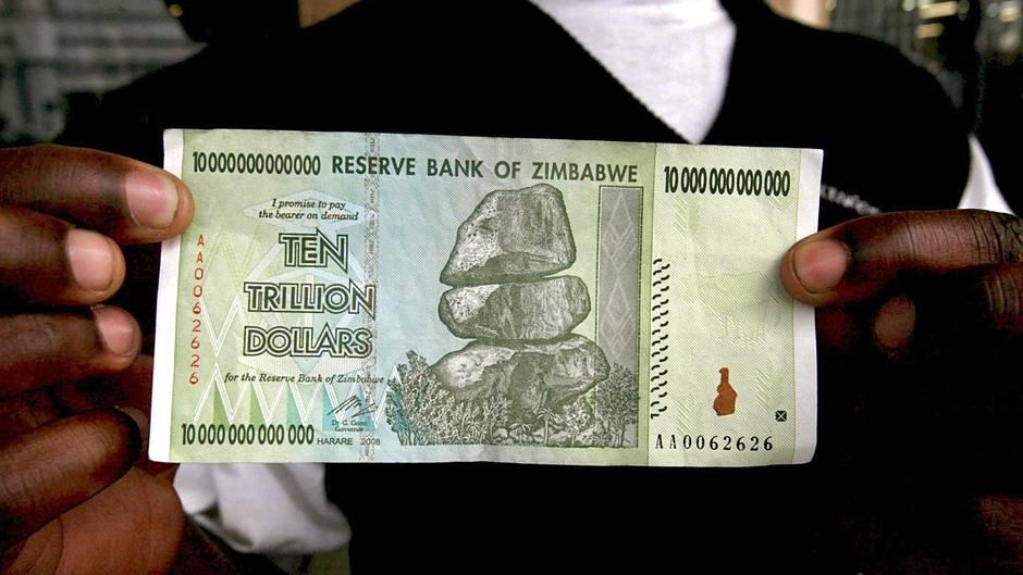Zehn-Billionen-Dollar-Note aus Simbabwe