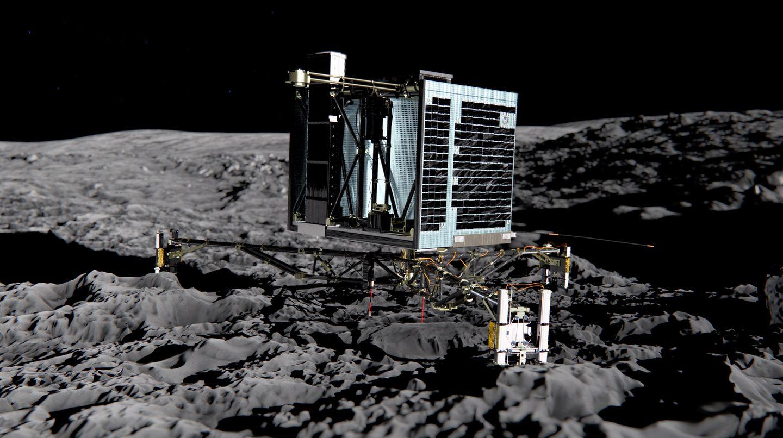 Die Raumsonde Philae steht im Weltall auf dem Kometen Tschuri