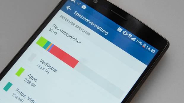 Ein Balkendiagramm zeigt unter Android den verbrauchten Speicher an