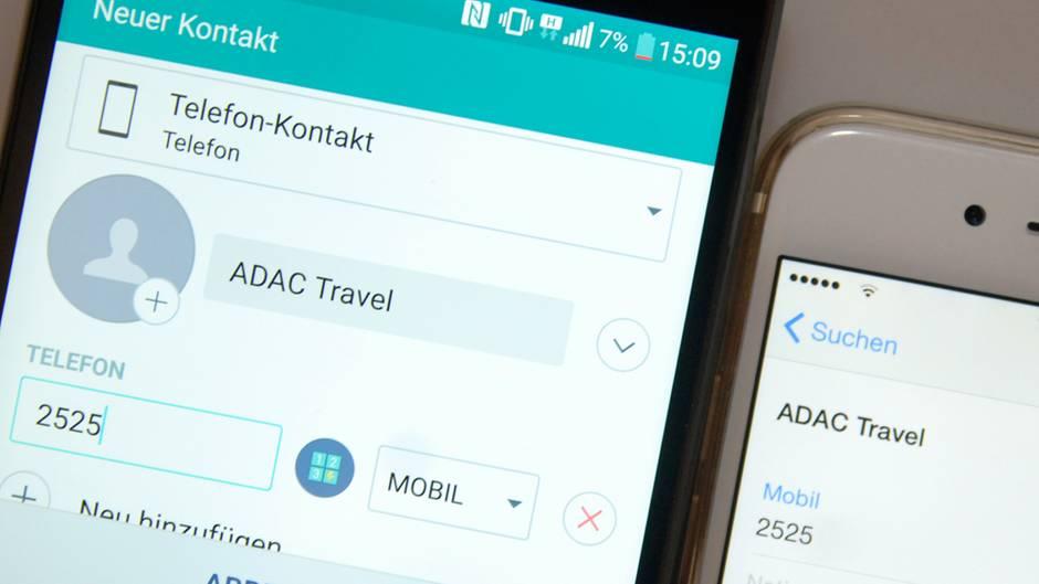 Ein iPhone und ein Android-Gerät zeigen den gleichen Kontakt an.