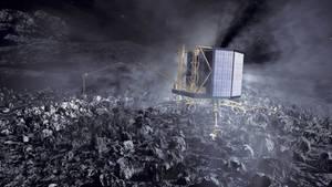 Raumsonde Philae, ein etwa kühlschrankgroßer und würfelförmiger Roboter, sitzt auf einem Kometen