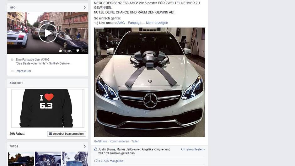 fake gewinnspiel bei facebook poster statt limousine online. Black Bedroom Furniture Sets. Home Design Ideas