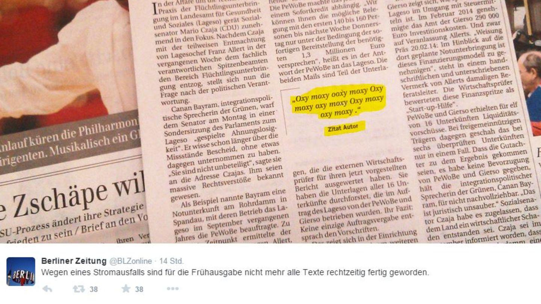 Berliner Zeitung erscheint wegen eines Stromausfalls mit halbfertigen Artikeln