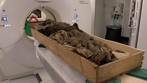 Die Überreste des seit über 300 Jahren toten schwedischen Bischofs Peder Winstrup werden für eine Untersuchung in einen Computertomographen (CT) geschoben