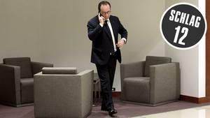 Der französische Präsident Francois Hollande sucht vor dem EU-Gipfel im März in Brüssel noch etwas Privatsphäre für ein Telefonat. Was er damals noch nicht wusste - er war nie allein. Die NSA hörte die ganze Zeit mit