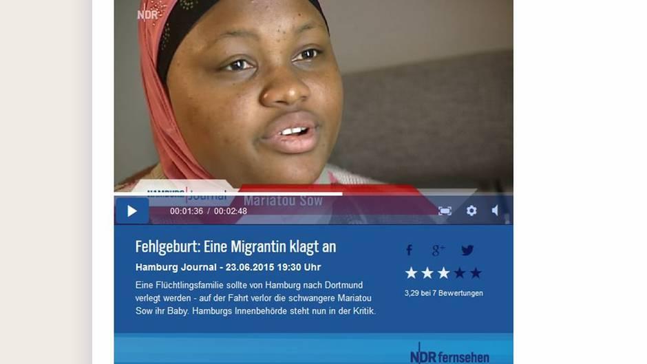 Der NDR berichtet über die Flüchtlings-Frau, die ihr Kind verlor