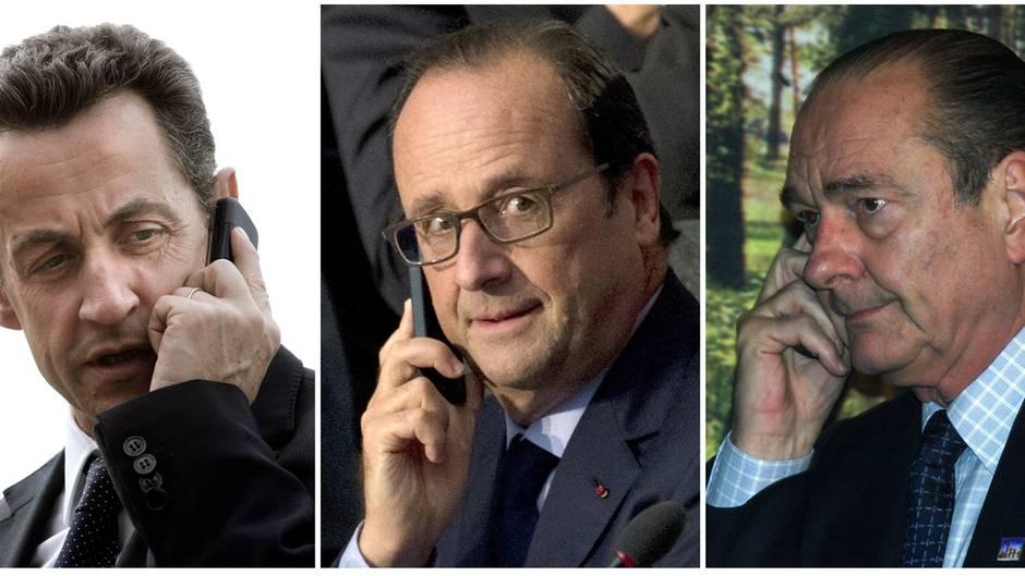 Die französischen Präsidenten Sarkozy, Hollande und Chirac beim Telefonieren