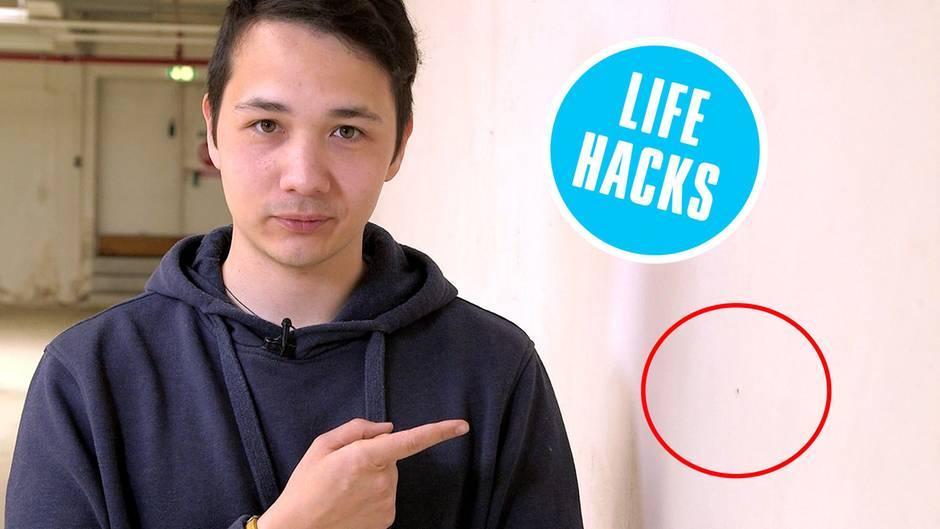 life hack l cher bohren ohne dreck mit post its. Black Bedroom Furniture Sets. Home Design Ideas