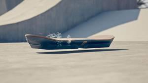 Schickt schwebt das Board über dem Boden.